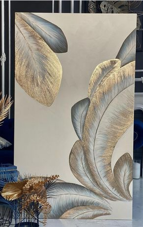 Картина с Эпоксидной смолой поталью и текстурной пастой