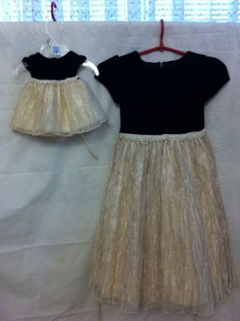 Очень красивое плотье +платье для куклы ,верх бархат низ органза .