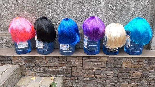 Парик каре черный, парик короткий блонд, цветные парики, синий парик