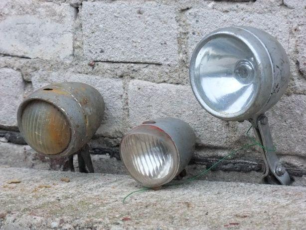 Dwie stare lampy rowerowe + dzwonek
