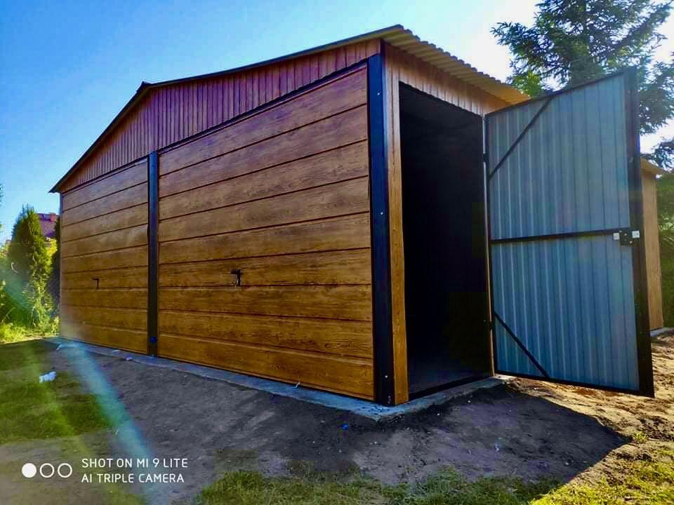 Garaże Blaszane 6x5 Garaż Drewnopodobny Dąb-Orzech