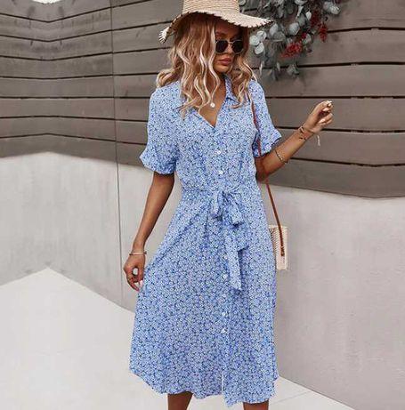 Suknia Sukienka letnia 100% wiskoza nowa niebieska M