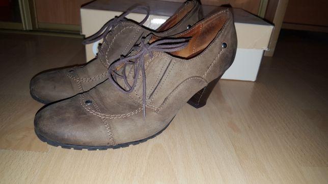Buty półbuty skórzane na niskim słupku