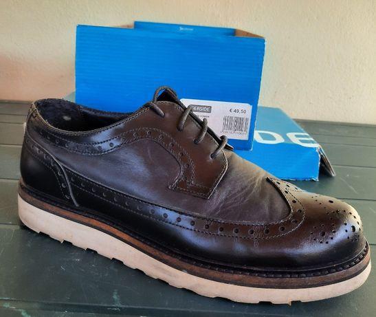 Sapatos pretos de homem, Seaside, de cabedal, tam.40