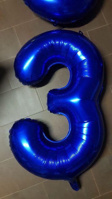 Balão foil Aniversário Numero 3 anos de 100cm