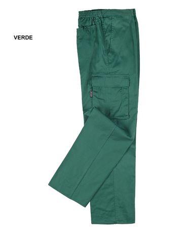 Calças multibolsos cor verde - novas