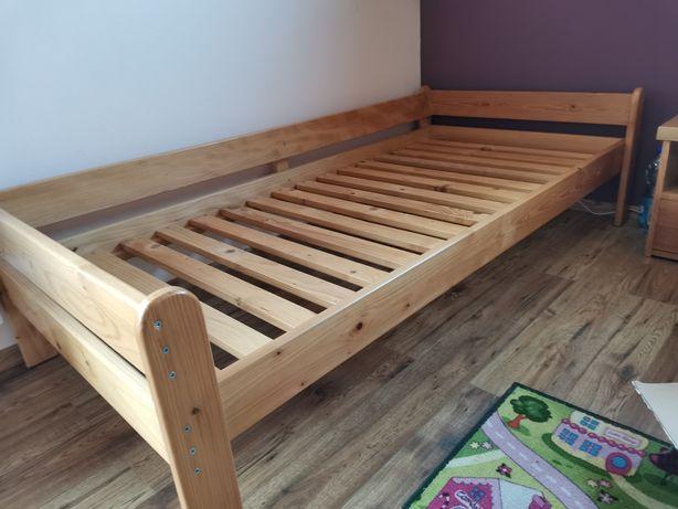 Łóżko z drewna, jodłowe, z materacem. Rozmiar 100x210