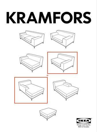 IKEA Kramfors | sofá + chaise longue em couro genuíno