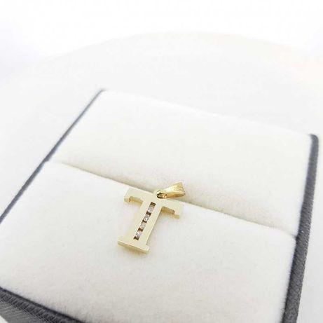 Złota zawieszka w kształcie litery T