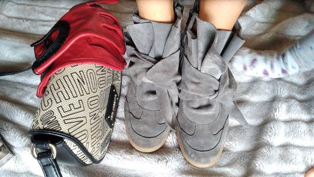 Sneakersy zamsz szare botki patforma