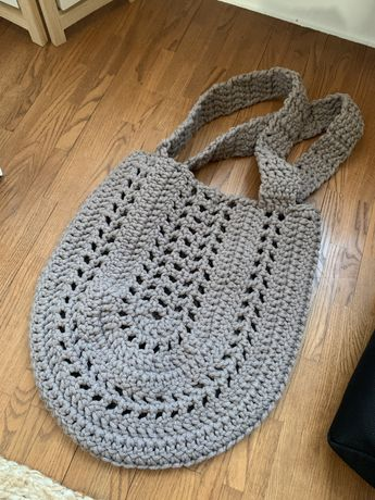 Torba worek ze sznurka bawełnianego szydełko ręcznie robiona