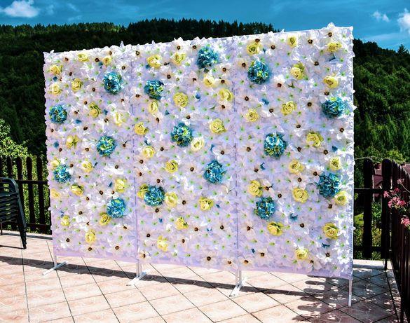 piękna ściana kwiatowa dekoracja ślub sesja fotograficna