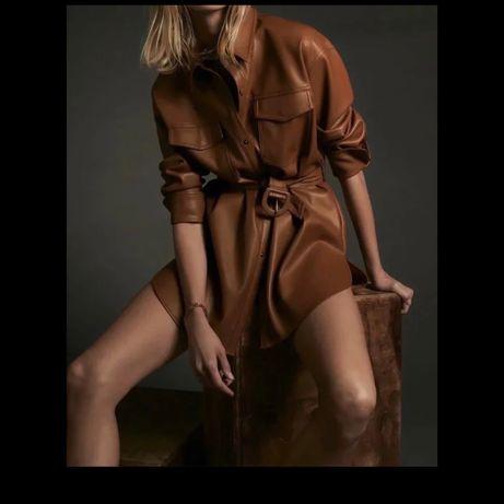 Zara кожаная рубашка S-M,шкіряна сорочка,шкіряне плаття,кожаное платье