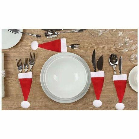 Czapeczki pokrowce na sztućce na świąteczny stół nowe