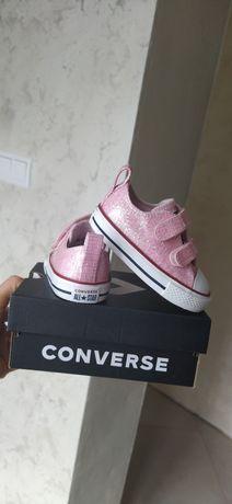Nowe Converse brokatowe Conversy różowe niskie r.20 skórzane białe