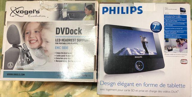 """Tablete philips 7"""" mais suporte para banco do carro"""
