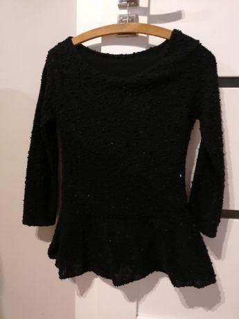 Bluzka/sweterek z baskinka. Czarny z cekinami r. M