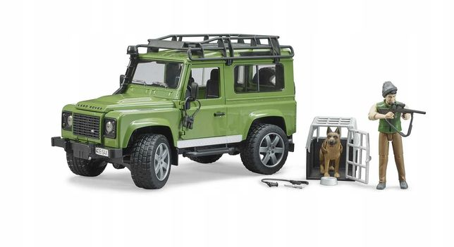 BRUDER 02587 Land Rover z figurką psa i leśniczego