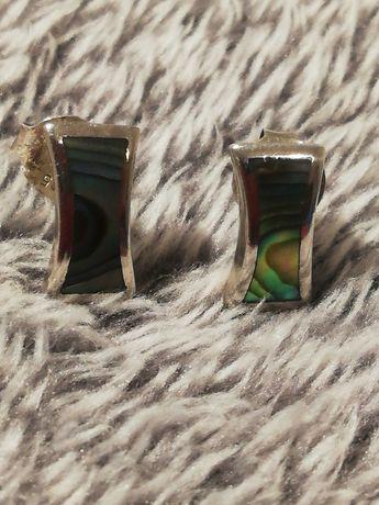 Kolczyki srebrne 925 z masą perłową