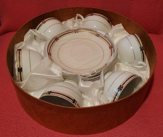 Nowe filiżanki VERONI Złoty Grand, porcelana, 6 szt.