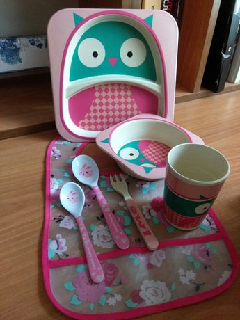 Набор детской бамбуковой посуды + слюнявчик в подарок