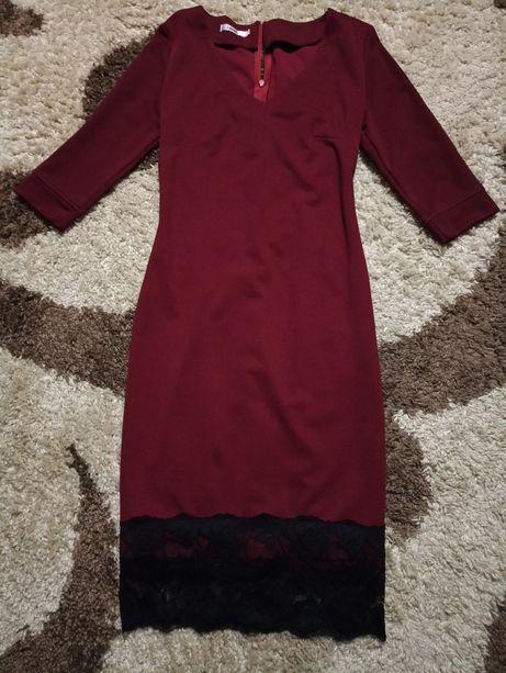 Платье марсала бардовое