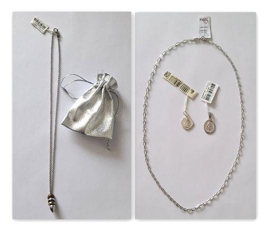 srebrny komplet naszyjnik Diamant, srebrny medalik + srebrny łańcuszek
