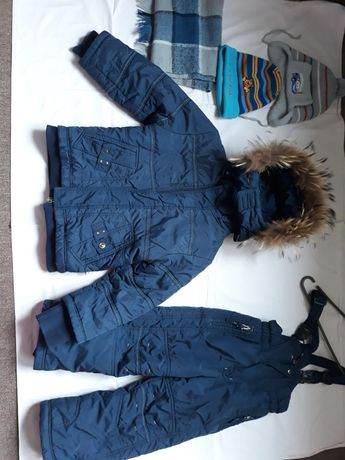 костюм зимний с мехом енота.комбез+куртка+Шапки и шарф