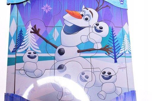 KRAINA LODU OLAF*drewniane puzzle w ramce*9 elementów*Disney*puzle