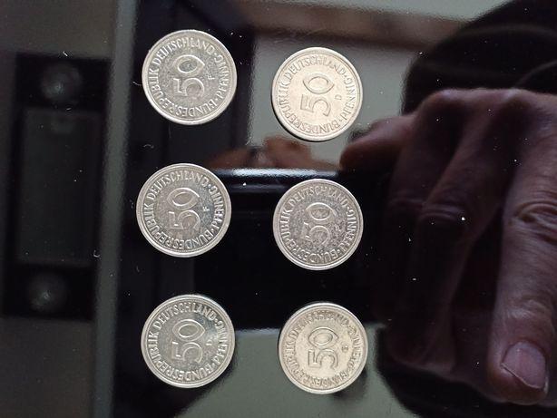 Monety 50 Pfennig 6 sztuk.