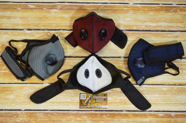 Дышащая защитная маска с фильтром, веломаска, 2 клапана, сменный фильт