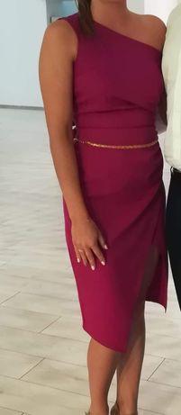 Asymetryczna sukienka na jedno ramię, rozmiar S, fuksja