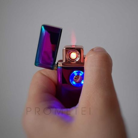 Зажигалка USB + газовая (синяя, бордовая, хамелеон)