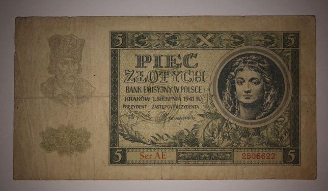 Banknot | 5 złotych | seria AE | 1941