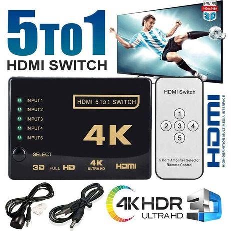 HDMI Switch Splitter 5 Portas com comando