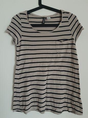 Bluzka, t-shirt z krótkim rękawem, beżowo-czarna w paski, H&M 36 S