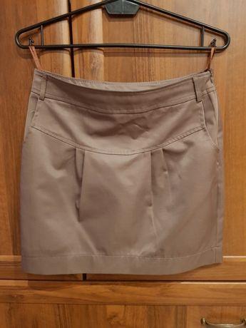 Krótka spódnica ciemna beżowa vintage
