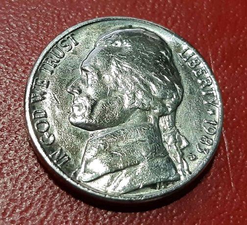 5 центов США пять Five Cents USA Liberty Monticello 1983