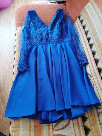 Niebieska / Chabrowa sukienka jak lou, zdobiona