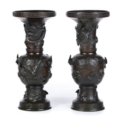 Par Jarrões Japoneses Bronze Séc XIX