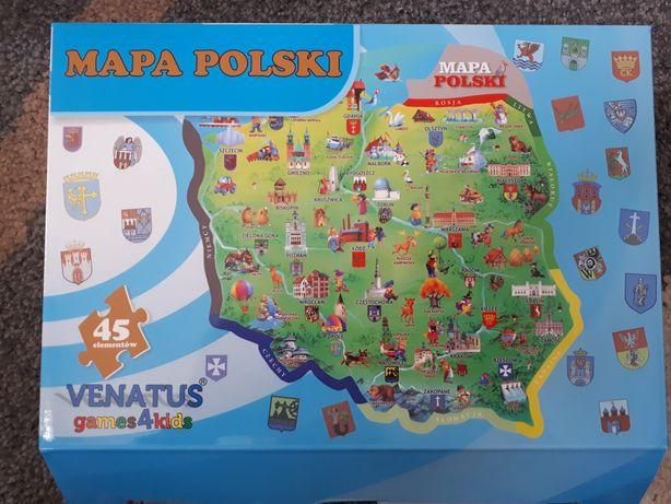 Mapa Polski - układanka puzzle dla dzieci