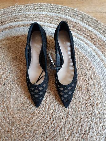 czarne nowe czółenka buty na obcasie zara 39, skóra zamszowe, modne