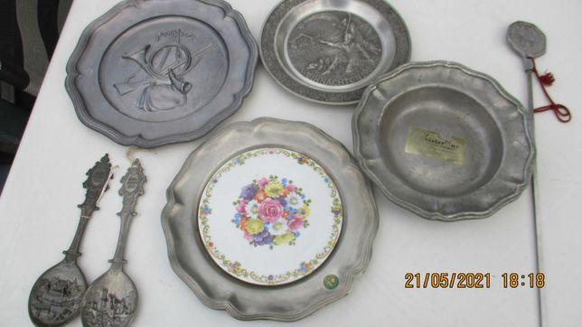 talerze dekoracyjne niemieckie z cyny