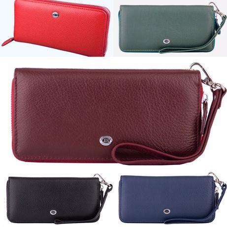 Женский кожаный кошелек на молнии красного и зелёный цвета ST Leather