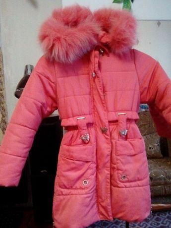 зимнее пальто для девочки р. 122