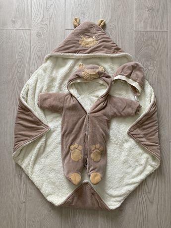 Комплект на выписку, одеялко, теплый человечек, шапочка, шарфик