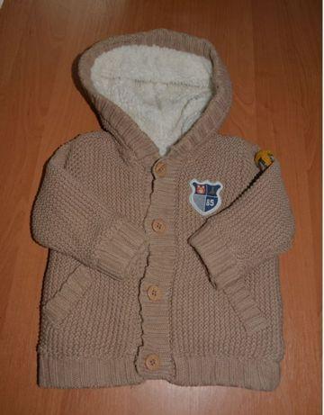 Вязаная кофта (куртка) на махре демисезонная 6-12 мес