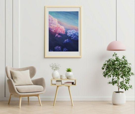 Картина интерьерная,розовые облака,пейзаж