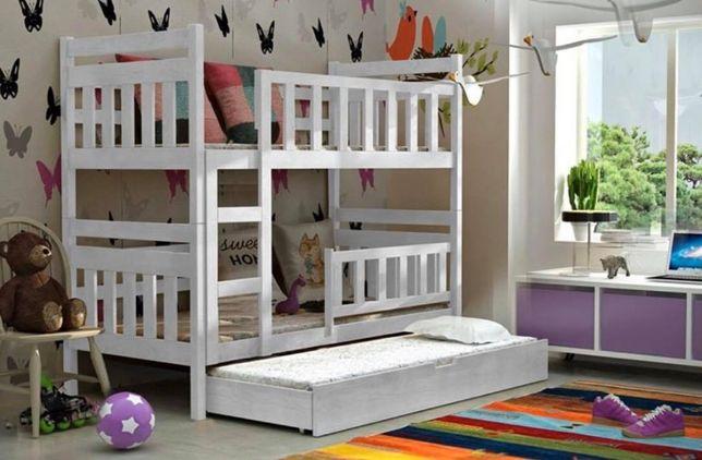 Drewniane łóżko Staś dla trzech osób!