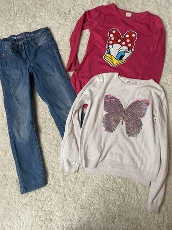 Spodnie jeans + sweter odwracane cekiny